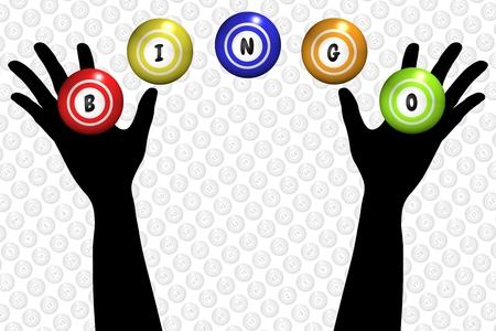 bingo: Illustration of a pair of hands and bingo balls Stock Photo