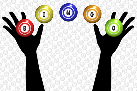 bingo: Ilustración de un par de manos y bolas de bingo Foto de archivo