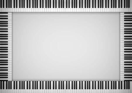 piano key: Illustration of a frame made of piano keys Stock Photo