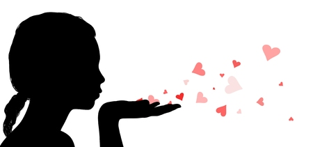 to adore: Illustration of a woman blowing love hearts off her hand Stock Photo
