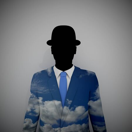 surrealism: Illustration of a Businessman with a sky textured suit