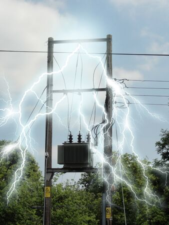 junction: Photo of a junction box with electricity effects added