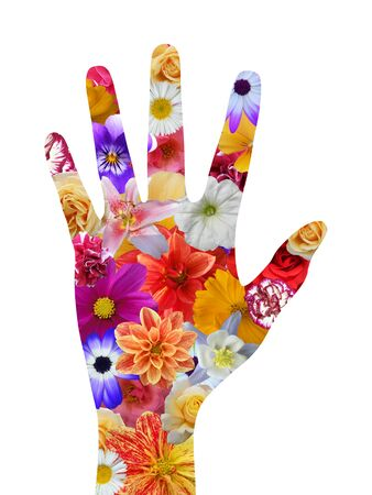 flowery: Isolated hand with flower texture