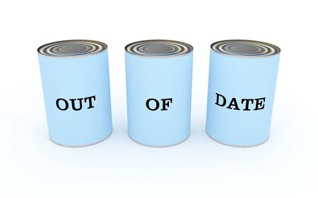 Illustration of three cans of food with the words \\\Out of date\\\