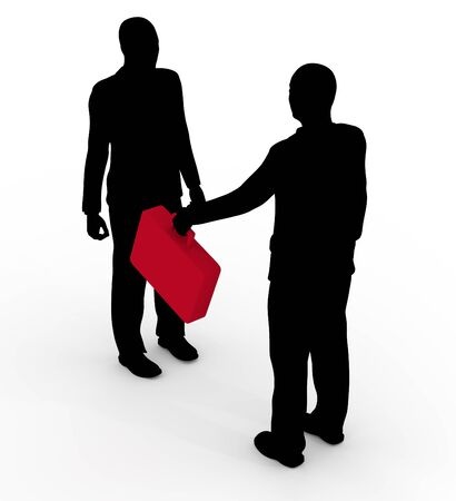 handing: Illustration of two businessmen with one handing over a red briefcase Stock Photo