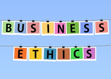 business ethics: Illustration of colorful photos hanging on lines with the words \Business Ethics\