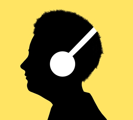 illustrated: Illustrated silhouette of a person enjoying music, having a hearing test or learning with audio