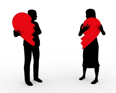 parting: Illustration of a couple holding two parts of the same heart Stock Photo