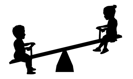 see saw: Illustration of two children playing on a seesaw Stock Photo