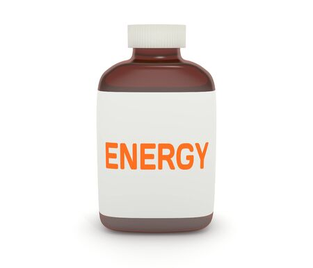 zest: Illustration of a medicine bottle with the word \Energy\ on the label Stock Photo