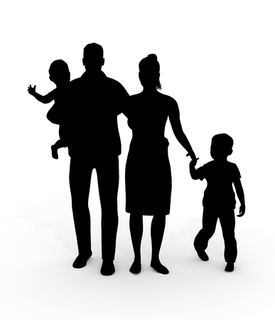 family unit: Illustration of a family unit consisting of two adults and two children