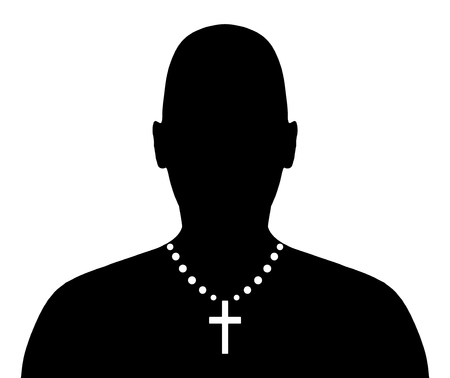rosary: Illustration of a person wearing a crucifix necklace Stock Photo