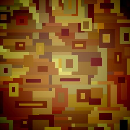 illustrated: Abstract Illustrated background made of brown pixelated shapes