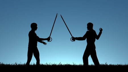 sword fight: Illustration of two men sword fighting Stock Photo