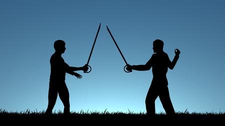 sword silhouette: Illustration of two men sword fighting Stock Photo