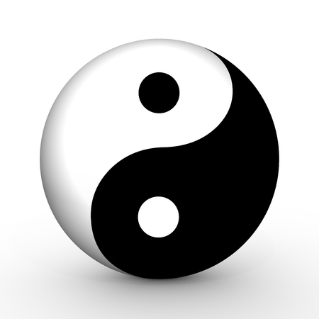 illustrated: Illustrated Yin and Yang symbol Stock Photo