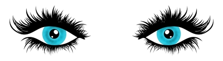 Illustration of a pair of female eyes with very long and full eyelashes Stock Photo