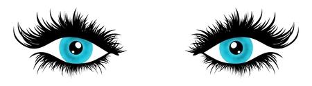 eyelashes: Illustration of a pair of female eyes with very long and full eyelashes Stock Photo