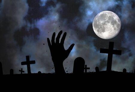 reaching up: Illustration of a Zombie hand reaching up from the grave