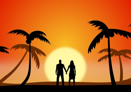 retreat: Illustration of a couple on holiday