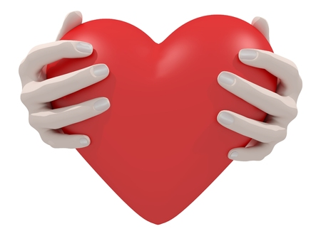 caring hands: Illustration of a pair of hands holding a heart