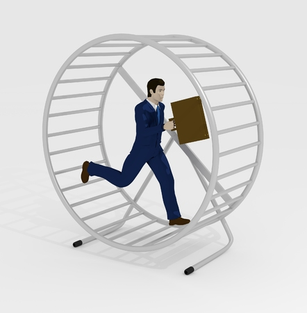 Illustration of a businessman running inside a hamster wheel illustration