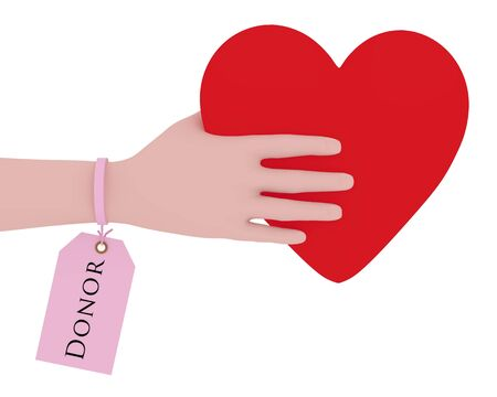 hematology: Illustration of a person with a donor tag holding a heart Stock Photo