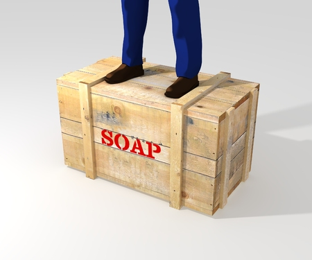 pitching: Illustration of a person standing on a soapbox