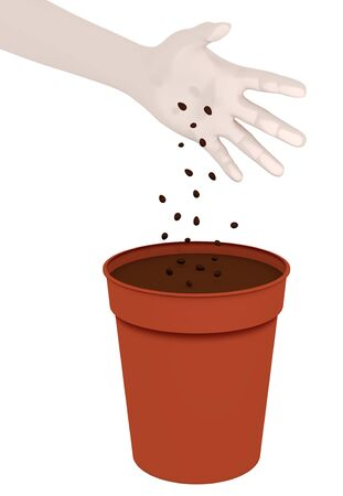 sow: Illustration of a hand dropping seeds into a plant pot