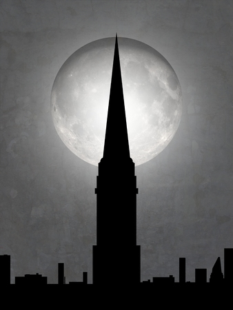 moon  metropolis: Illustration of a cityscape with tall tower and moon in the background