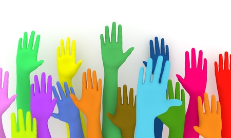 upwards: Illustration of a colorful group of raised hands