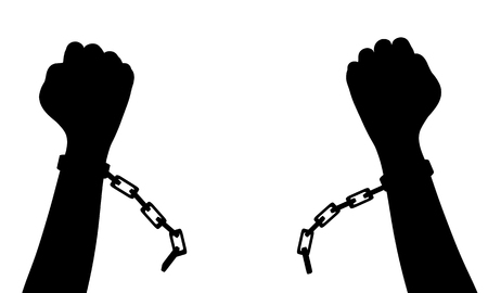 break: Illustration of a person breaking chains
