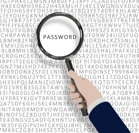 data entry: Illustration of a hand holding a magnifying glass with the word password highlighted Stock Photo