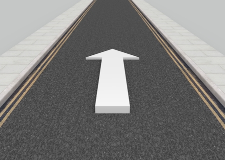forwards: Illustration of a long road with a white arrow pointing forwards Stock Photo