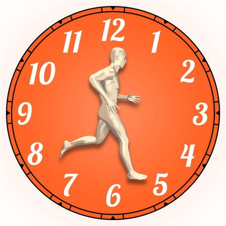 rat race: Illustration of a person running on a clock face