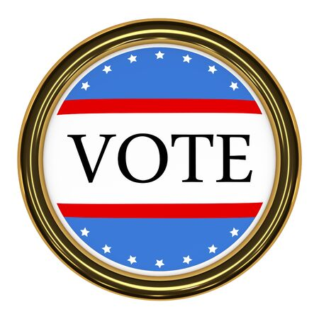 voters: Illustration of a button with red white and blue design and the word vote