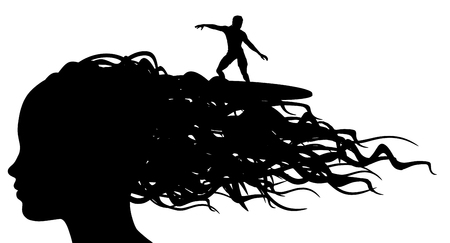wavy hair: Illustration of a person surfing on the waves of a womans hair
