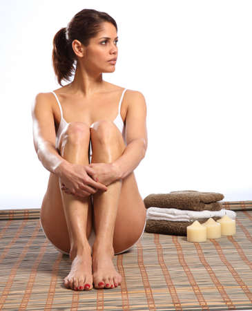 briefs: Beautiful serious woman sitting in health spa