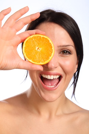 Excited fun pose with orange slice by beautiful young woman. photo