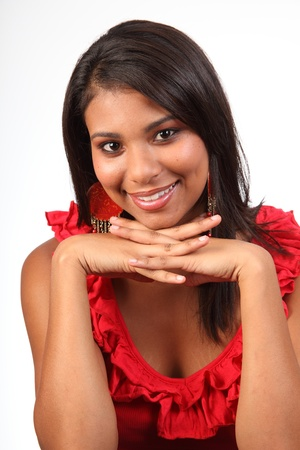 Lovely smile from gorgeous girl in red photo