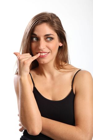 call me: Call me hand sign beautiful young woman Stock Photo