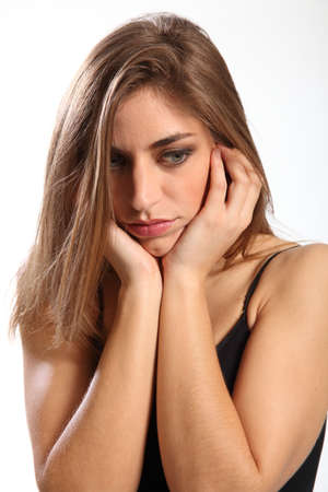 Not interested says young woman with hands over ears Stock Photo - 9535997