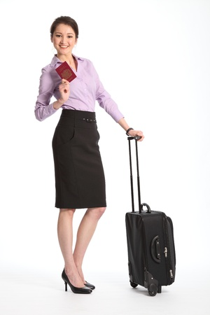 Asian business woman travelling with suitcase and passport photo