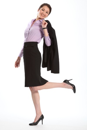 skirt suit: Successful career woman in black suit