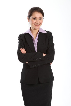 Confident career woman in black suit photo