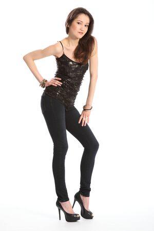 skinny jeans: Hermosa ni�a en jeans flacos Foto de archivo