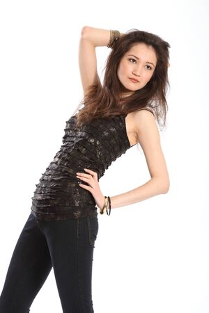 Fashion shot of girl in jeans photo