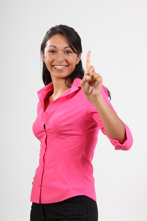 number one: Number one gesture from beautiful woman in pink