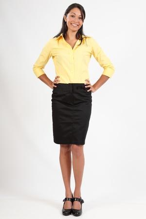 blusa: Joven y bella mujer de negocios blusa y falda Foto de archivo