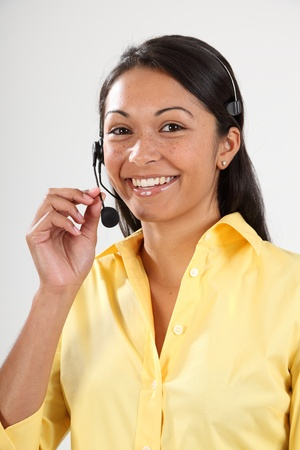 Good customer service smiling female receptionist photo